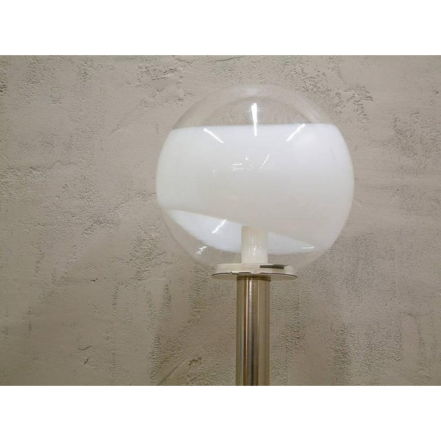 1960s 1960s Mazzega Style Tubular Chrome and Murano Glass Floor Lamp For Sale - Image 5 of 9
