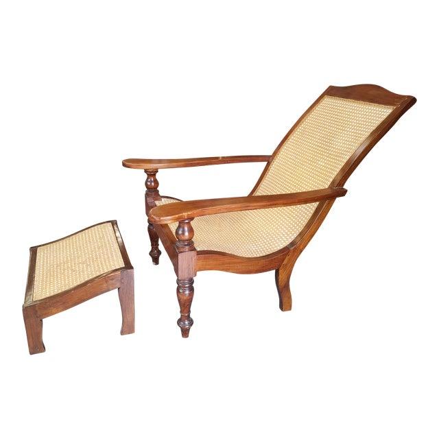 Teak Plantation Chair & Ottoman For Sale
