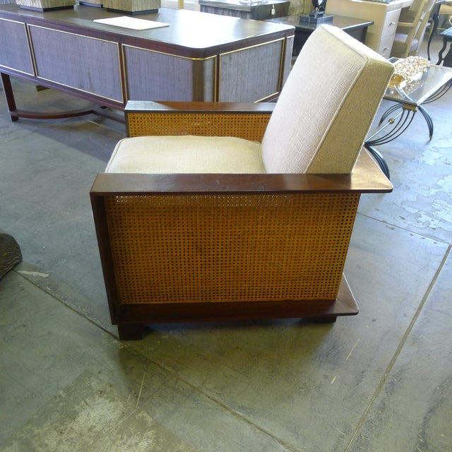 2010s Paul Marra Max Walnut & Cane Club Chair For Sale - Image 5 of 8