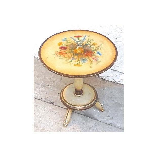 Vintage Italian Hand-Painted Floral Footstool - Image 4 of 5