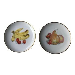 Vintage Mid-Century Fruit Motif Plates - A Pair For Sale