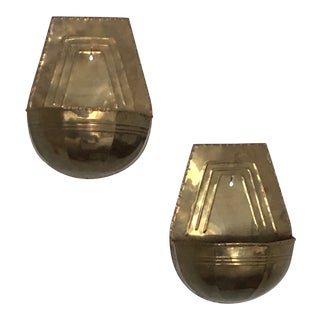 Vintage Brass Wall Pocket Planters - a Pair For Sale
