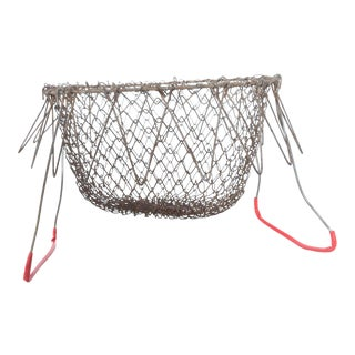 1940s Farmhouse Chic Red Wire Egg Basket Carry All With Intricate Modern Mesh Grid For Sale
