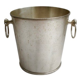 Vintage Hotel Silver Champagne Bucket With Ring Handles For Sale