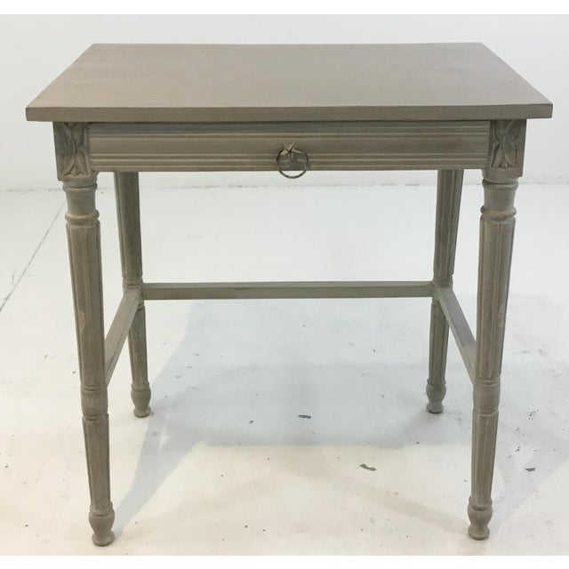 Stylish Currey & Co. French country style Lysanne gray wood end table, one drawer with unique antique metal hardware,...