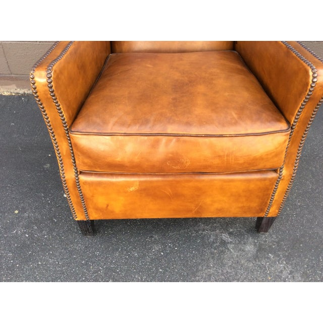 Brown Leather Club Chair For Sale - Image 11 of 12