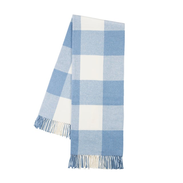 Transitional Denim Buffalo Check Throw For Sale - Image 3 of 3