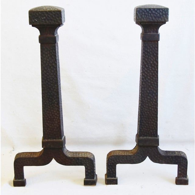 Early 1900s Arts & Craft Mission Style Iron Fireplace Andirons For Sale - Image 9 of 10