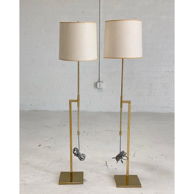 Vintage Laurel Brass Floor Lamps Designed by Harold Weiss and Richard Barr - a Pair For Sale In Phoenix - Image 6 of 6