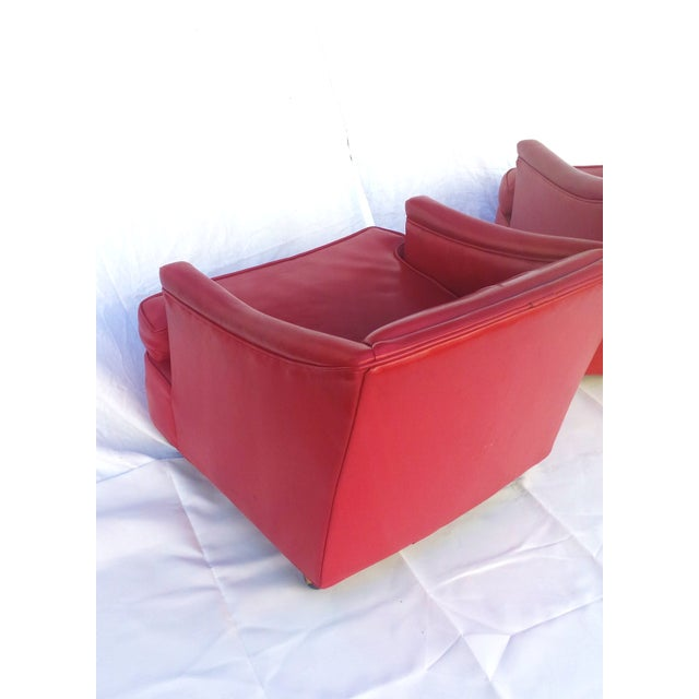 Lipstick Red Vinyl Club Chairs - A Pair For Sale - Image 9 of 11