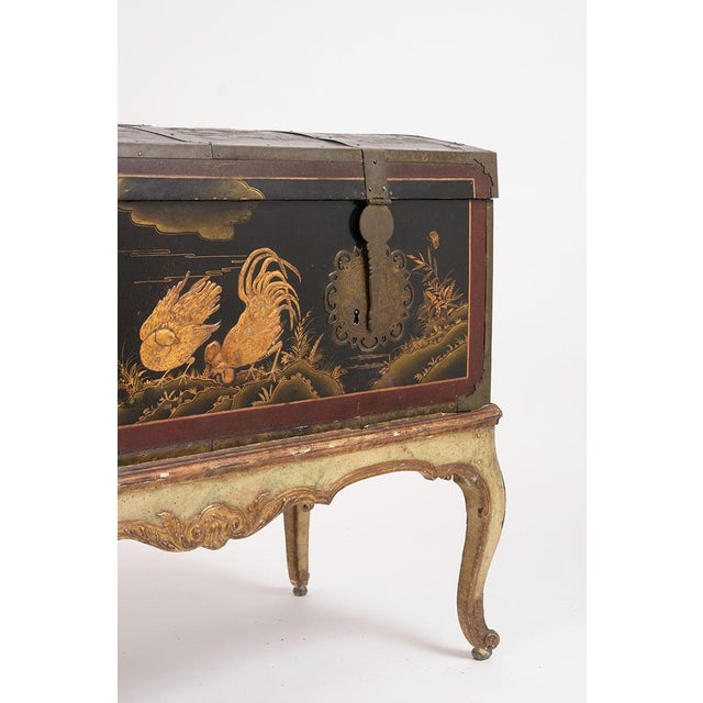 Black Mid 19th Century Spanish Chinoiserie Trunk For Sale - Image 8 of 13