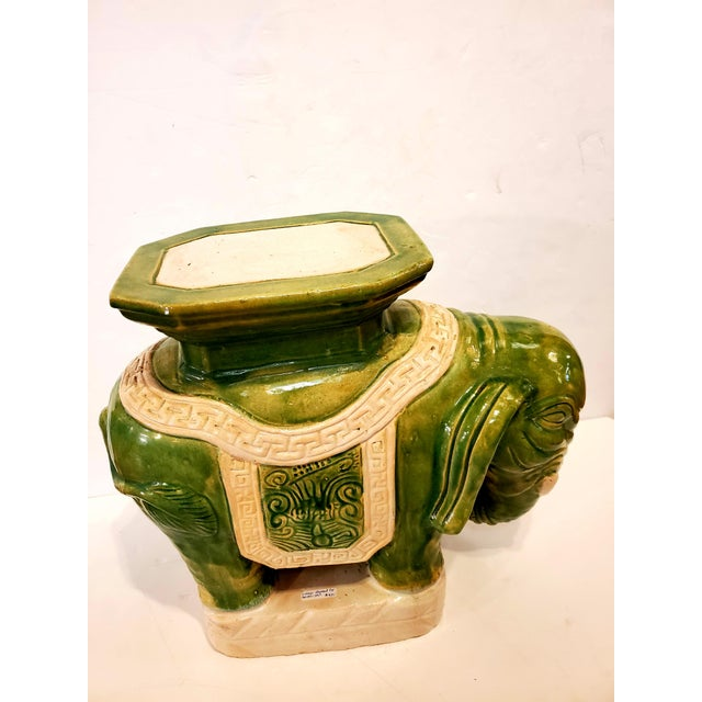Asian Vintage Green & White Elephant Garden Seat End Table For Sale - Image 3 of 13