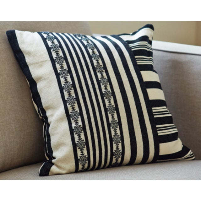 Black & White Striped Square Pillow Covers - Pair - Image 2 of 4