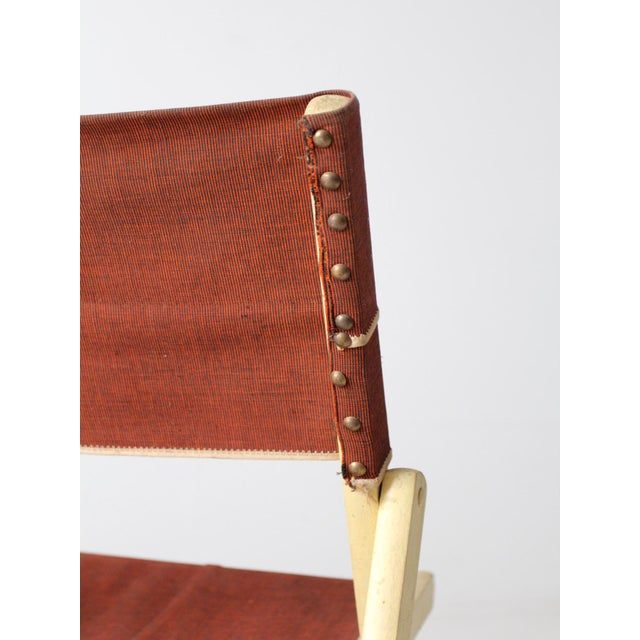 Canvas Mid-Century Folding Chair For Sale - Image 7 of 8