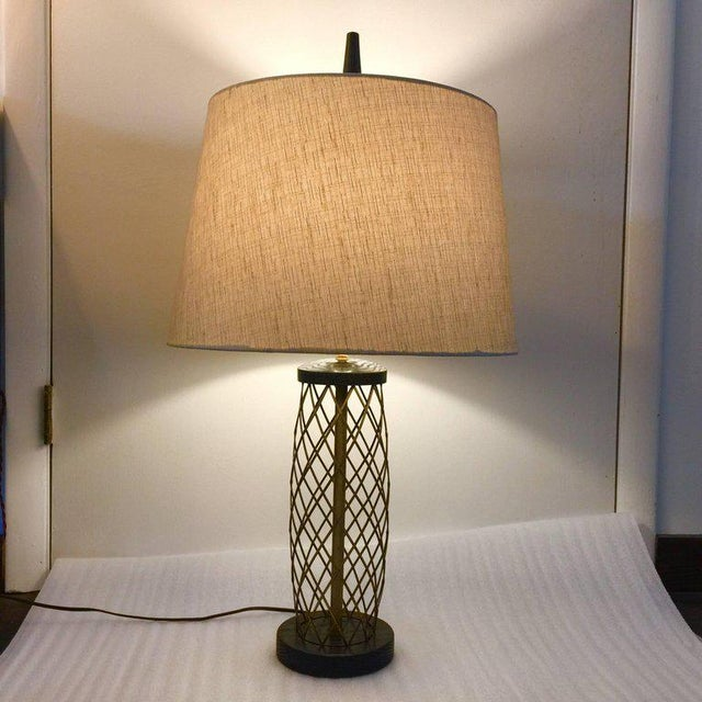 Royere Style Ebonized Oak and Brass Lattice Table Lamp - Image 2 of 7