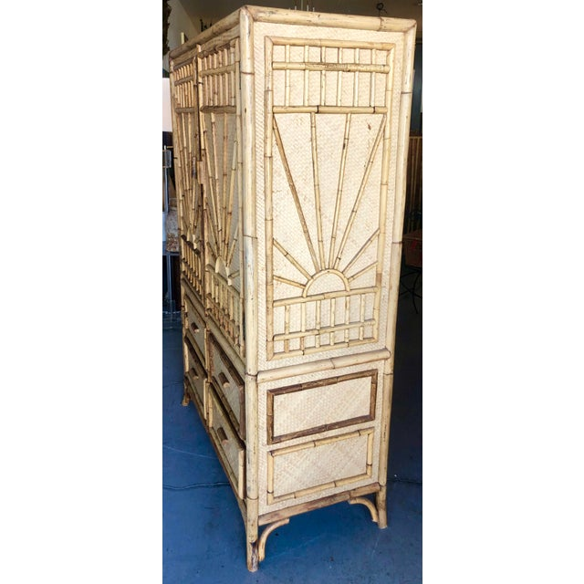 Vintage Rattan Burnt Bamboo Armoire For Sale - Image 4 of 13