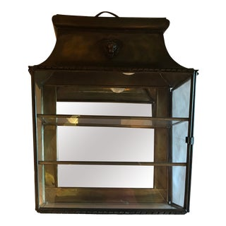 Vintage Victorian European Brass Curio Wall Cabinet For Sale