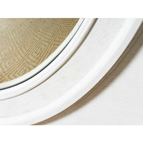Grand scale round convex mirror Square wooden frame Coconut painted finish
