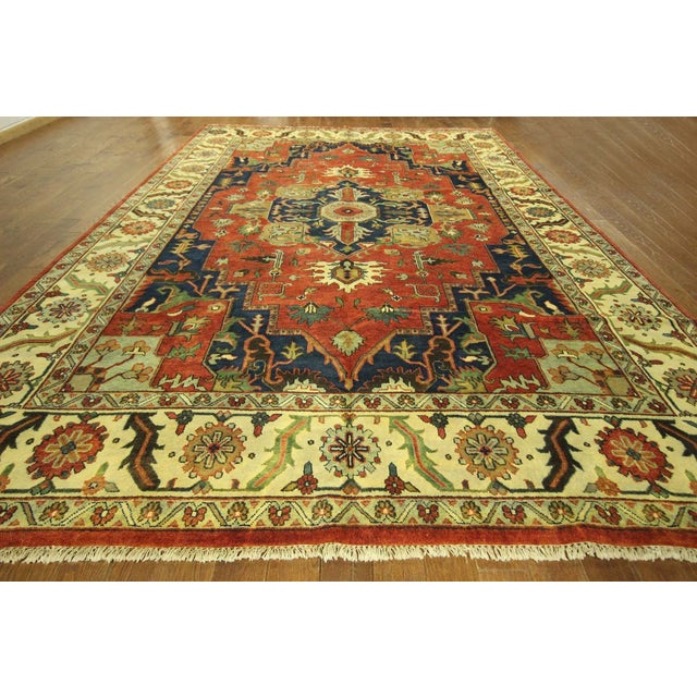 "Red & Ivory Heriz Serapi Knotted Rug - 9'10"" x 14' - Image 2 of 10"