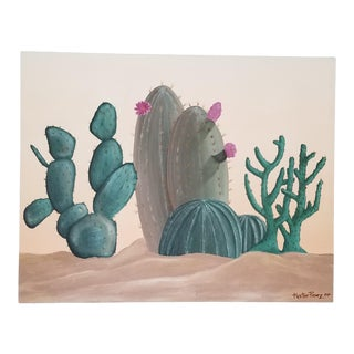 1980 Large Hector Perez Mixed Media Desert Landscape Painting For Sale