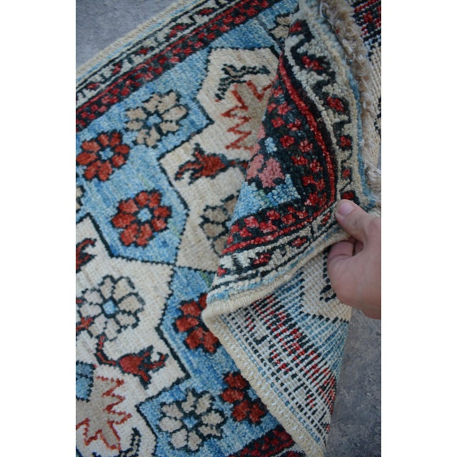 2010s Traditional Turkoman Hand-Knotted Sky Blue Wool Rug For Sale - Image 5 of 6
