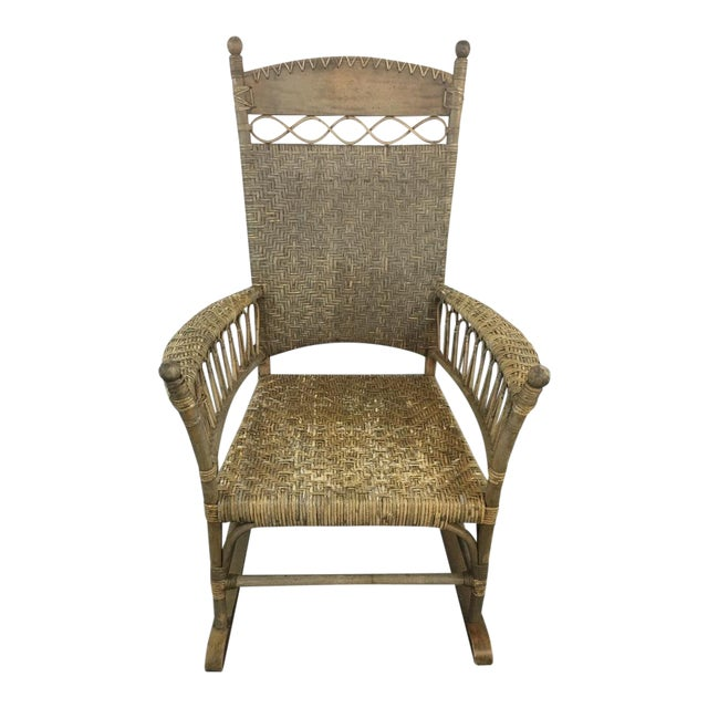 Antique Wicker & Carved Wood Rocking Chair - Image 1 of 4
