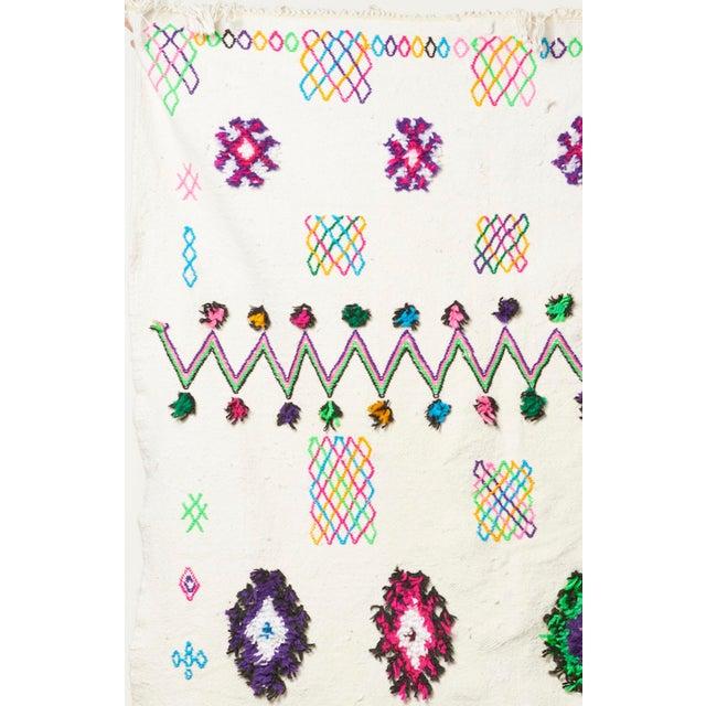 White & Multicolor Moroccan Blanket - Image 3 of 4