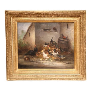 19th Century French Oil Chicken Painting in Gilt Frame Signed C. Guilleminet For Sale