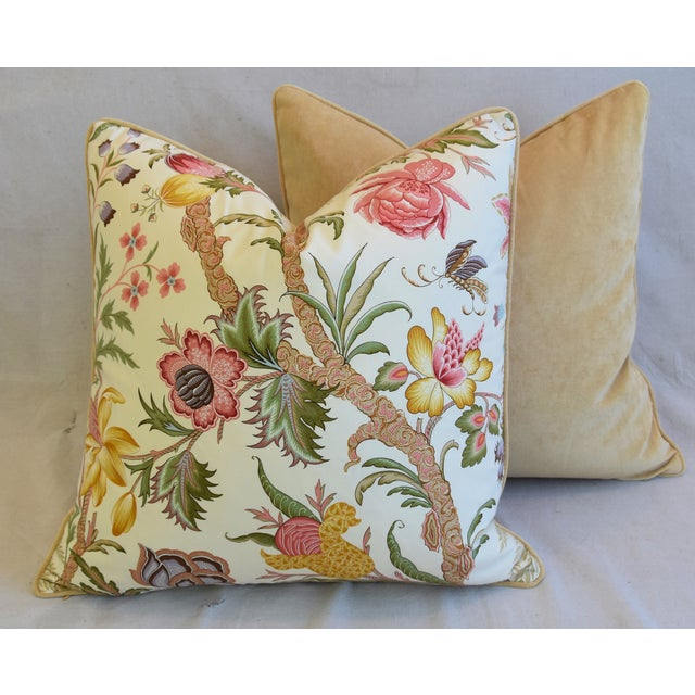 "Designer Cowtan Tout Arabella Floral Feather/Down Pillows 24"" Square - Pair For Sale - Image 12 of 13"