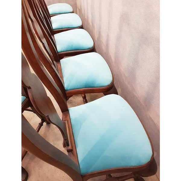 Blue French Antique Chippendale Queen Anne Style Walnut Turquoise Blue Reupholstered Dining Chairs - Set of 6 For Sale - Image 8 of 13