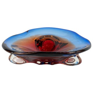 Mid-Century Modern Hand Blown Murano Ruby / Emerald Amorphic Decorative Bowl For Sale