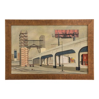 Mid Century Industrial Landscape by Charles Haymes (1928-) For Sale