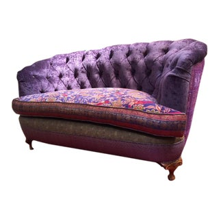 Reupholstered Upcycled Silk Purple Velvet Loveseat For Sale