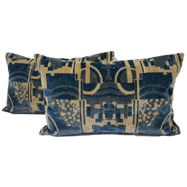 Americana Luigi Bevilacqua of Milan Blue Art Deco Velvet Lumbar Pillows - a Pair For Sale - Image 3 of 12