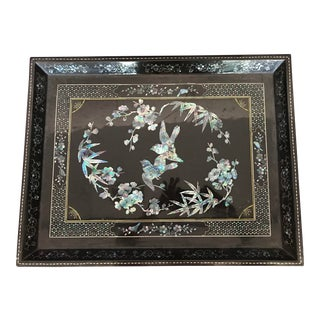 Chinese Tray With Abalone Inset Designs For Sale