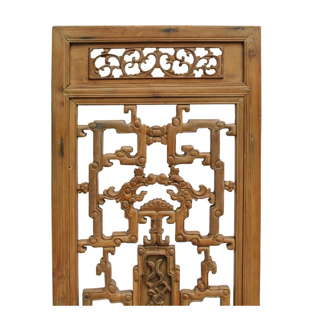 Lights Chinese Vintage Light Brown Relief Motif Wood Wall Hanging Art For Sale - Image 7 of 10