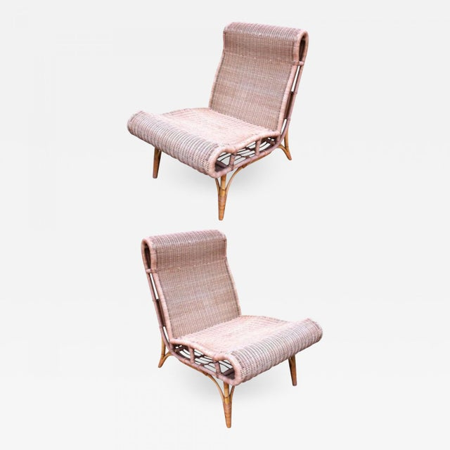 Contemporary Abraham and Rol Rarest Documented Pair of Rattan Slipper Chairs. For Sale - Image 3 of 3