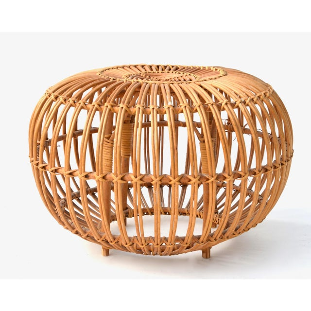 Lovely circular rattan stool or side table by Franco Albini. Add a glass top to make a side table or a cushion for a stool...