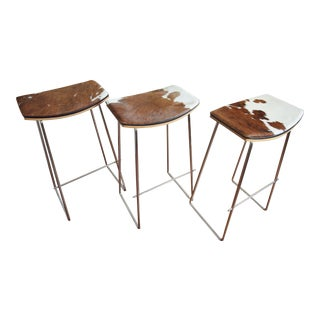 "Yvonne Potter ""Y"" Design Cowhide Stools - Set of 3 For Sale"