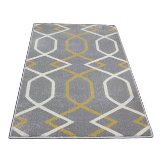 "Contemporary Yellow Geometric Gray Rug - 5'3"" x 7'7"""