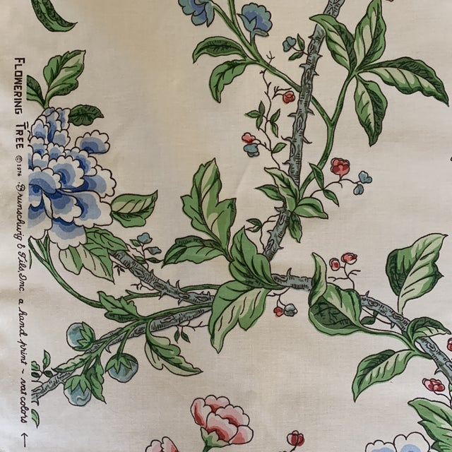 1990s Brunschwig and Fils Flowering Tree Cotton Fabric- 4 Yards For Sale - Image 5 of 7
