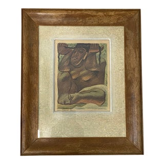 """Jean Charlot """"Idol"""" Framed Lithograph C.1933 For Sale"""