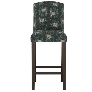 Camel Back Bar Stool in Tiger Bamboo Ink Oga For Sale
