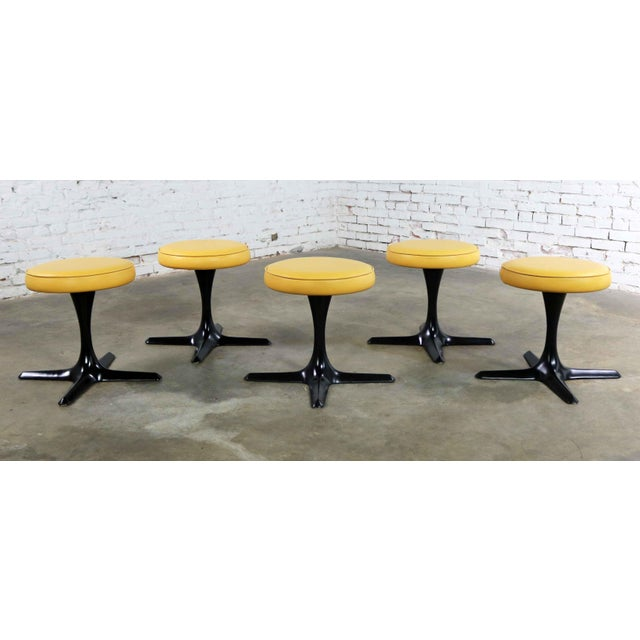 Mid Century Modern Burke Division for Brunswick Tulip Style Swivel Low Stools Set 5 For Sale - Image 12 of 12