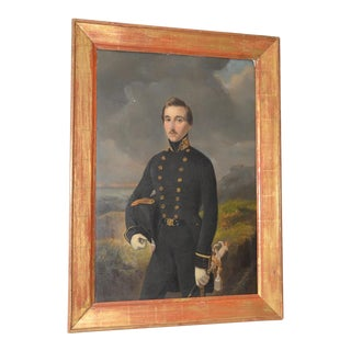 Pieter Gerardus Bernhard Portrait of Military Officer in a Seaside Landscape C.1850s