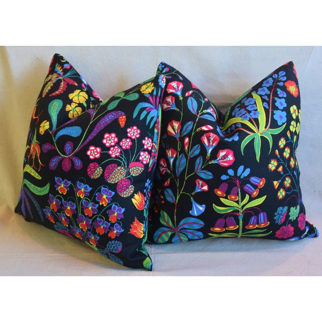 "Designer Josef Frank ""Under Ekatorn"" Floral Linen Feather/Down Pillows 18"" Square - Pair For Sale - Image 9 of 11"