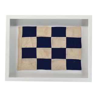 "Coastal Wall Decor Signal Flag ""N"" Framed Nautical For Sale"