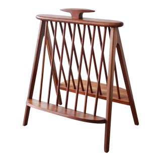 Arthur Umanoff Sculpted Walnut Mid-Century Record Holder or Magazine Rack For Sale