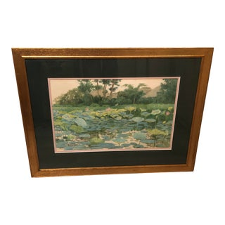 """1903 """"Water Lilies and Mountains"""" Watercolor Painting by Fujio Yoshida, Framed For Sale"""