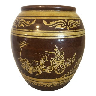 Antique Small Chinese Brown Earthenware Egg Jar Pi Tang Kong For Sale